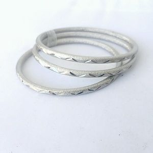 Set of 3 Silver Tone Bangle Textured Brushed